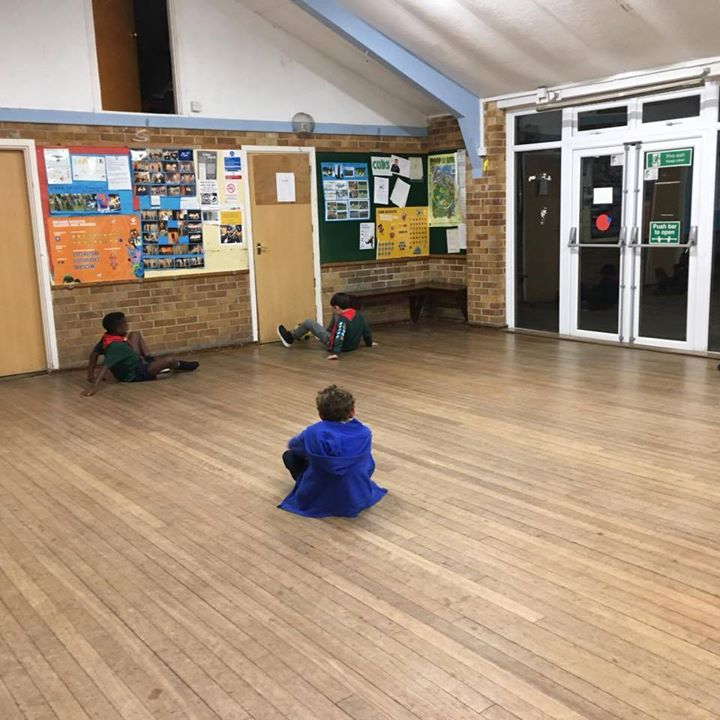 Cubs 18th Sept - Playing crab football and blindfolded key keeper games after discussing and learning about their disability awareness activity badge!