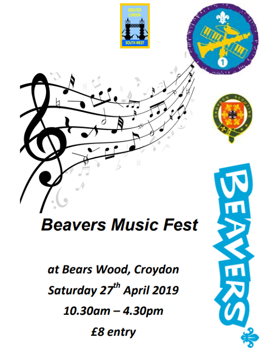 Beavers Music Fest - Our Beavers attended the Croydon Scouts music festival at Bears Wood campsite. Their day included a silent disco, drum workshop and den building.