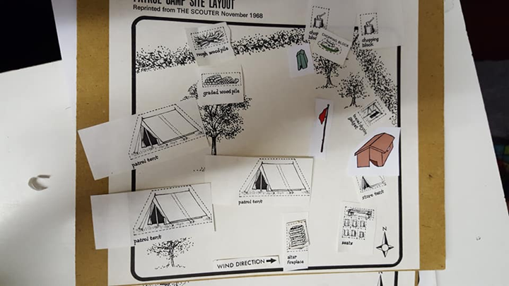 Scouts 29th April - In advance of our spring camp this weekend we ran four camping related activities: - What to pack - Planning a campsite layout - Pitching a hike tent - Camp gadgets
