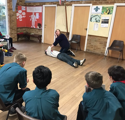 Scouts 13th May - Thank you to Barbera Somers who led a session of first aid. We went through the likes of the recovery position, CPR and making a sling. All the Scouts returned home with a booklet with first aid basics.